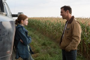 Left to right: Mackenzie Foy and Matthew McConaughey in INTERSTELLAR, from Paramount Pictures and Warner Brothers Entertainment.
